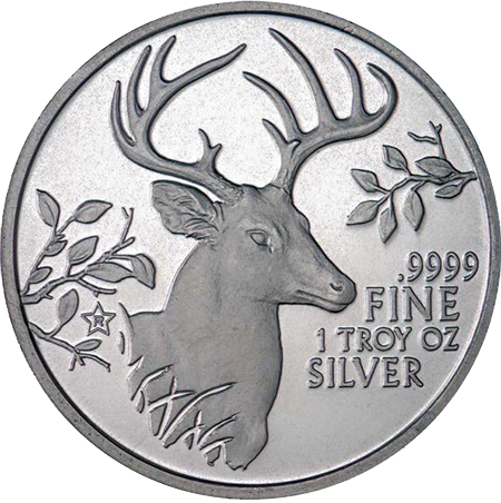 Texas Precious Metals Deer - 1oz Silver Bullion 1.5'' - Original Design