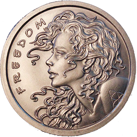 Freedom Girl - 1 oz. Silver Bullion, 1.5'' - Original Design