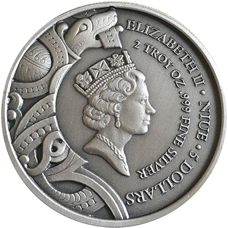 Niue Islands $5 Coin Reverse - High Relief Silver - Original Design