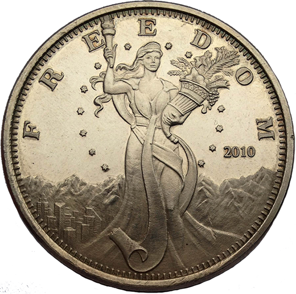 Ted's Liberty - Silver Bullion 1.5'' - Original Design from Client's Photo