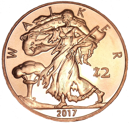 Zombucks - Walker - 1oz Silver 1.5'' - Original Design